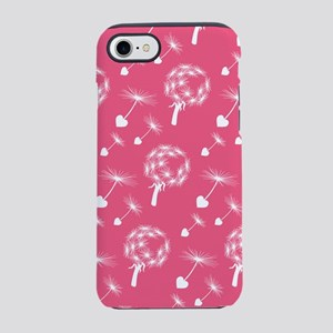 Pink Dandelion Heart Seeds Pattern iPhone 7 Tough